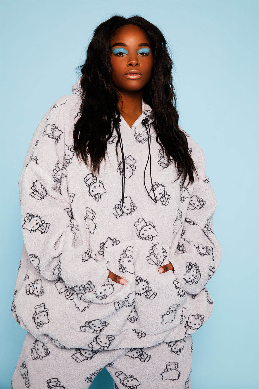 Hello Kitty all over print fleece hoodie curve