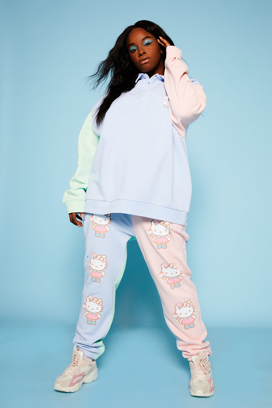 Hello kitty colour block joggers curve