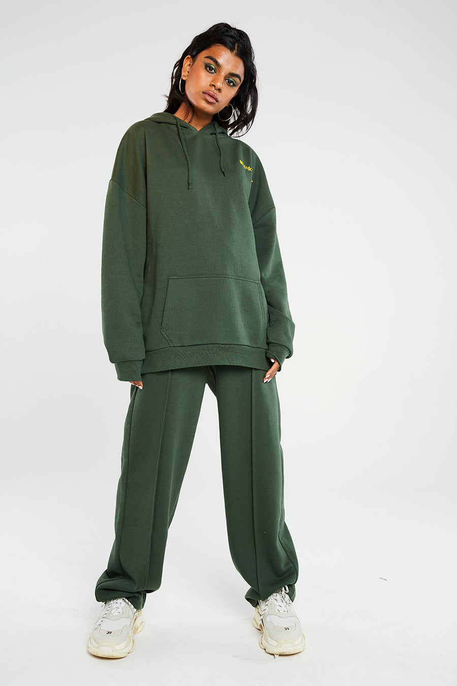 Green hoodie with embroidery