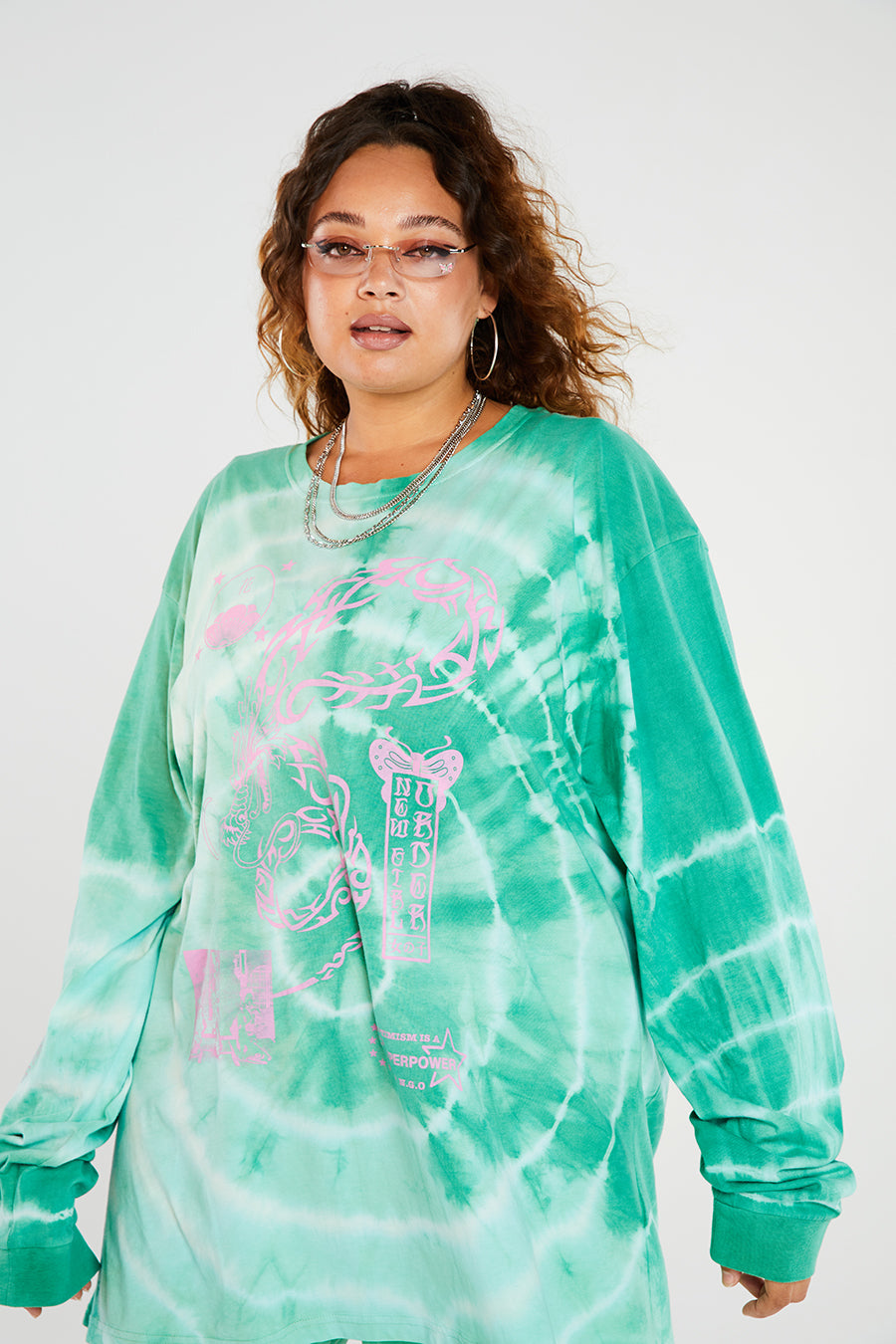 Tribal dragon tie dye long sleeve top curve