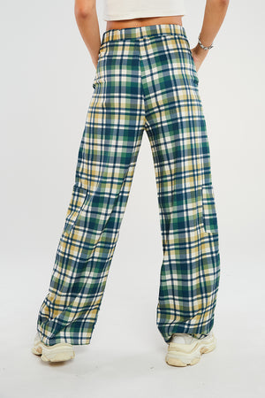 Green Check Wide Leg Trousers