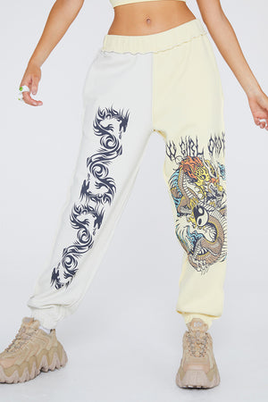 Yin Yang Dragon Panel Joggers