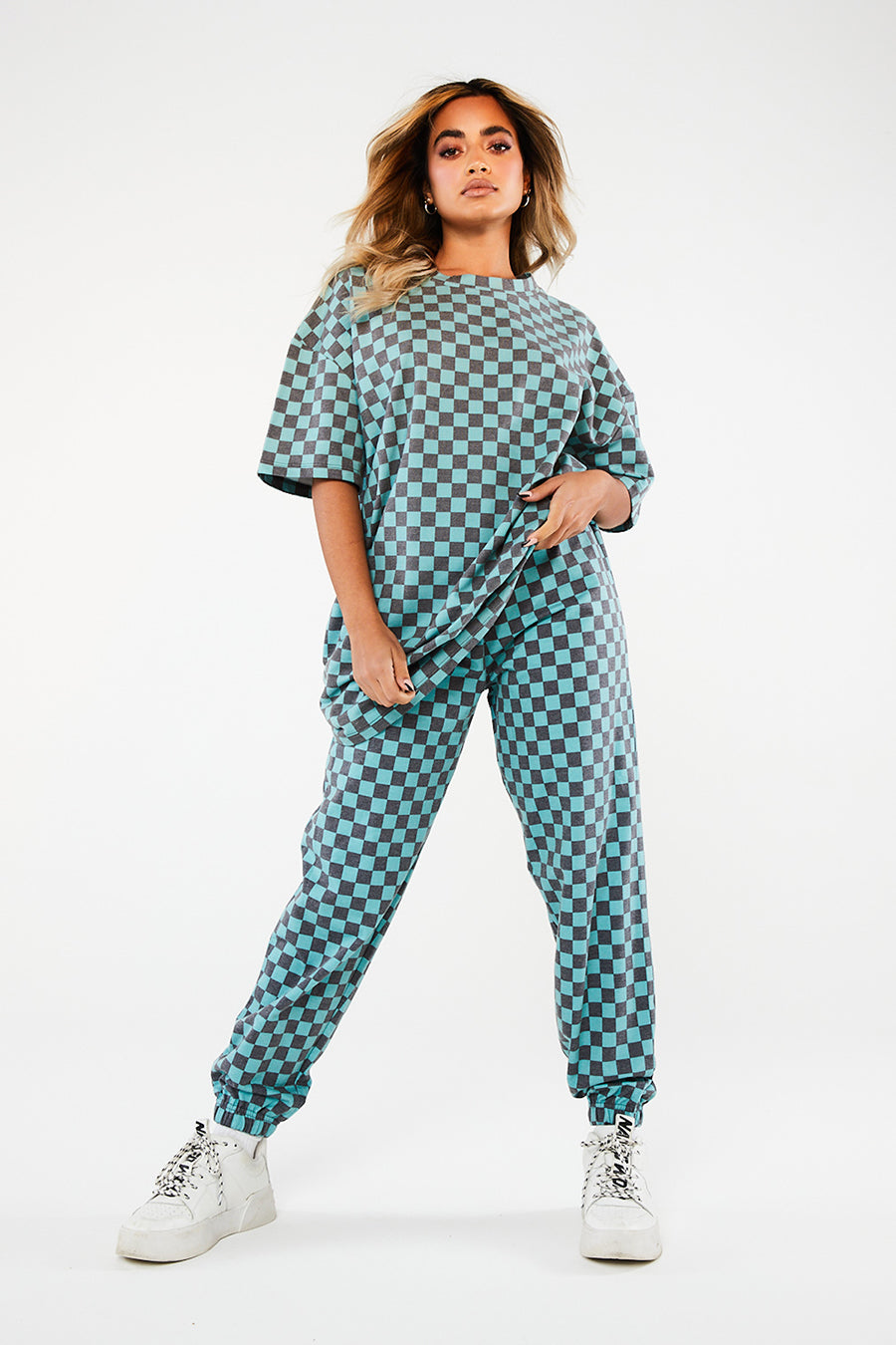 TEAL CHECKERBOARD TROUSER