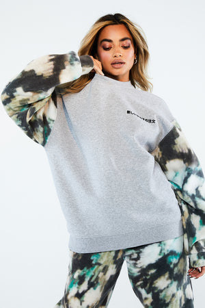 MOTTLED COLOUR BLOCK FLEECE SWEAT