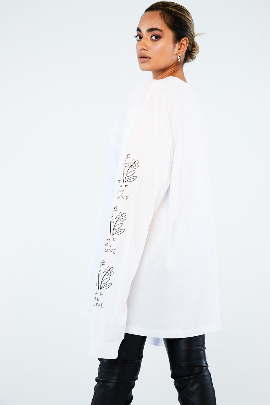 Leaf me alone long sleeve top white