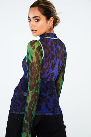 FLURO SEAM ANIMAL PRINT MESH TOP