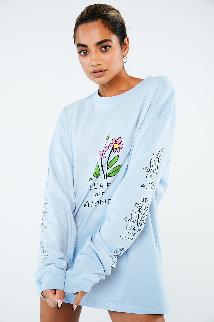 Leaf me alone long sleeve top blue