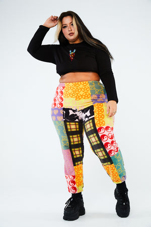 Patchwork fleece joggers curve
