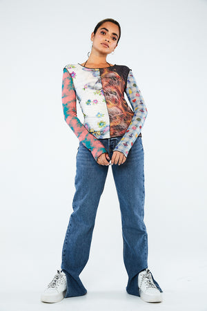 SPLICED PATCHWORK MESH TOP