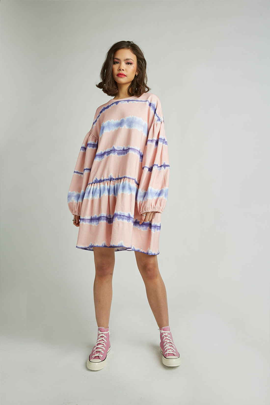 tie dye striped sweatshirt dress