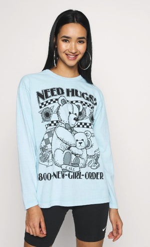 Need hugs pale blue long sleeve tee