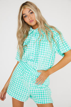 Green Gingham Velour Shorts