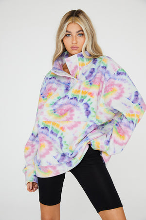 Rainbow Tie Dye Button Up Fleece Jacket