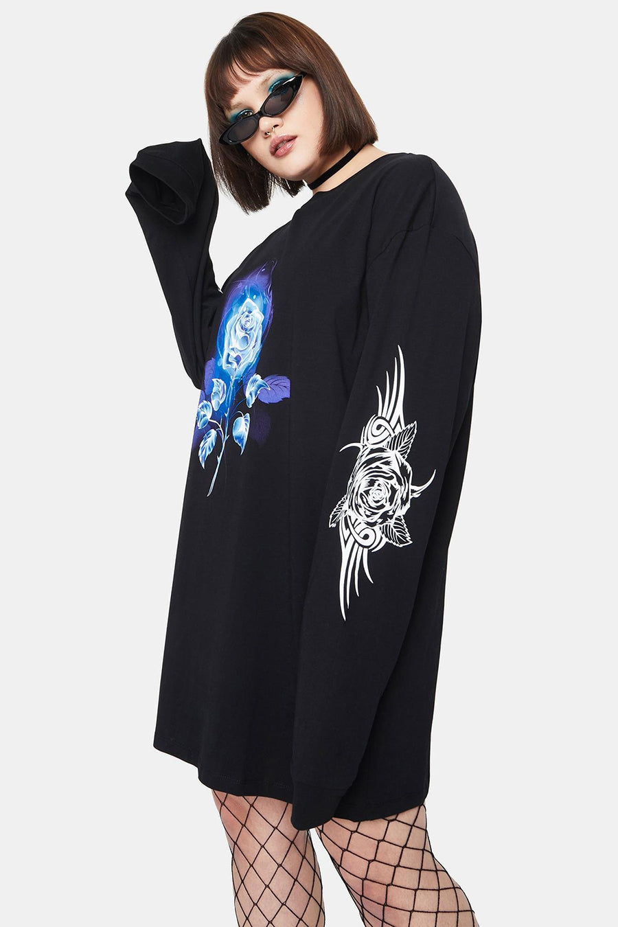 LS TEE DRESS WITH TRIBAL ROSE