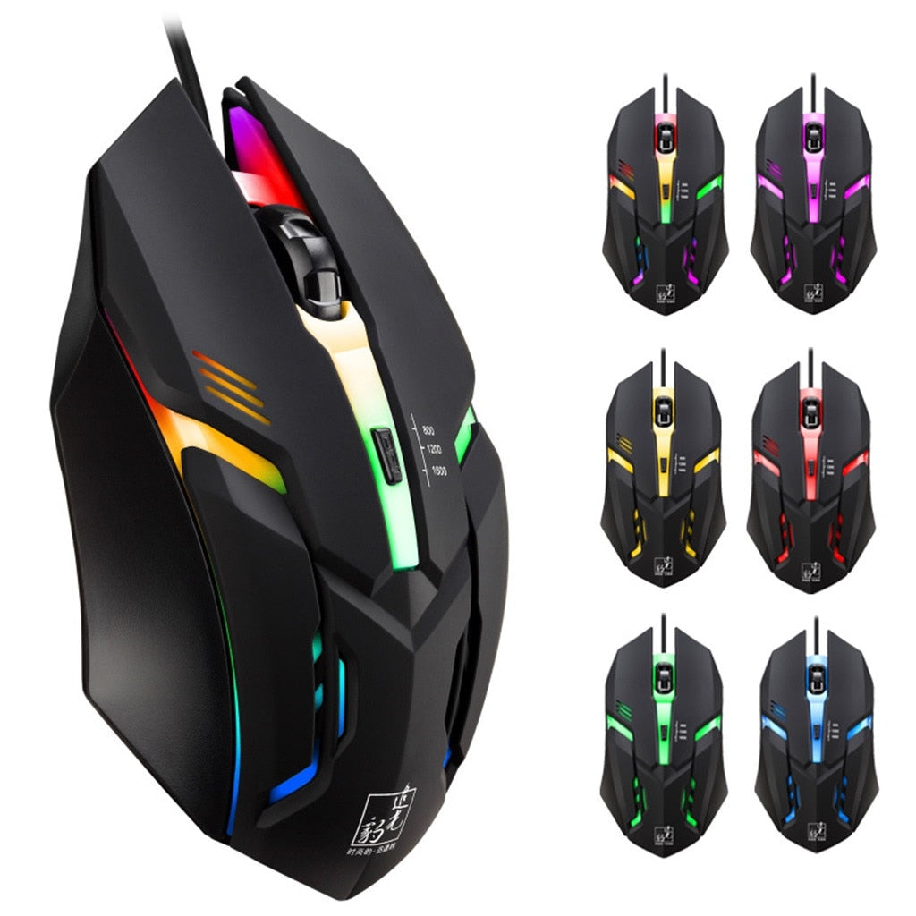 Wired LED Light 4 Button 1600DPI Optical Gaming Mouse Professional Pro