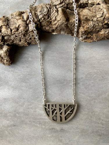 Birch Forest, Half-Moon Necklace
