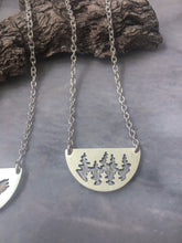 Pine Forest Reflection, Half-Moon Necklace