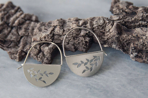 Half Moon Hoop Earring, Trailing Vines