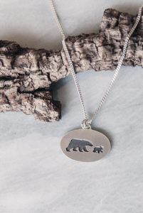 Mama Bear Necklace, One Cub