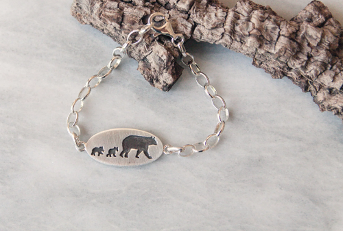 Mama Bear Bracelet, Two Cubs