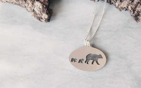 Mama Bear Necklace, Two Cubs