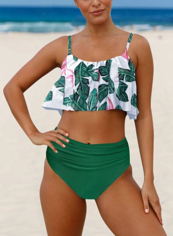 Tropical Ruched High-waisted Bikini Swimsuit (LC411260-9-1)