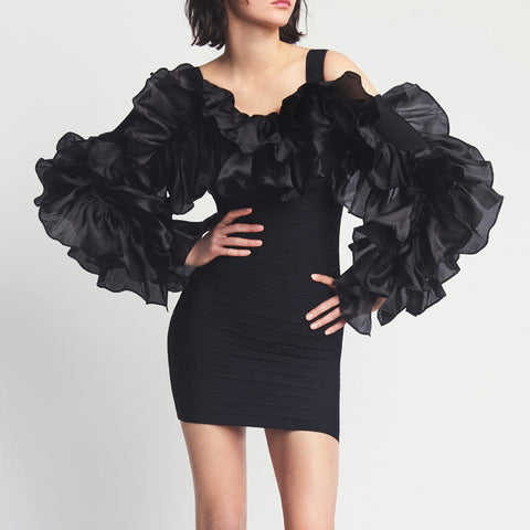Women's Fashion Irregular Frilled Ruffle Design Hip Dress
