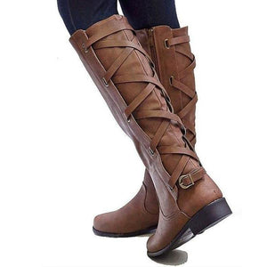 Laced Up Round Toe Calf Boots