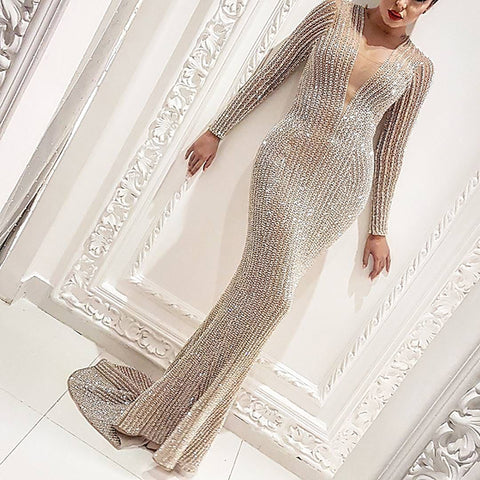 Lady sexy long sleeve sequin v-neck long dress