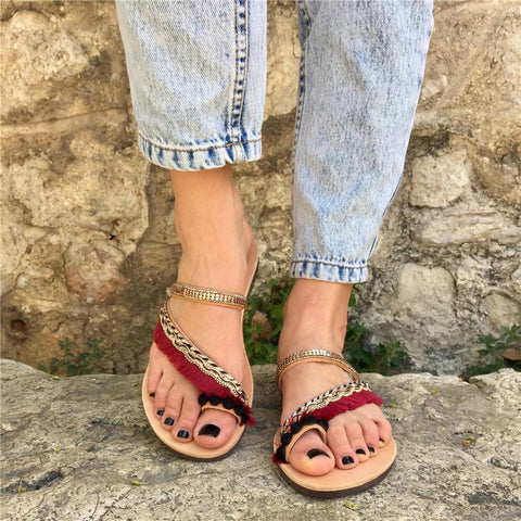 Beach peep-toe flat slippers