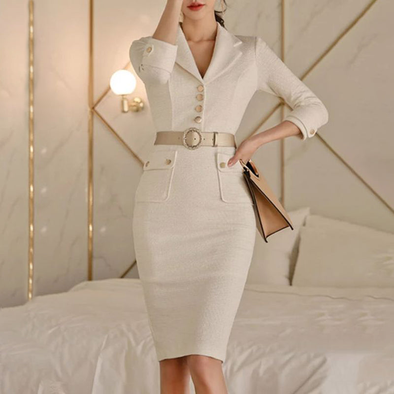 Commuting Long Sleeve Single-breasted Tailored Collar Beige Dress