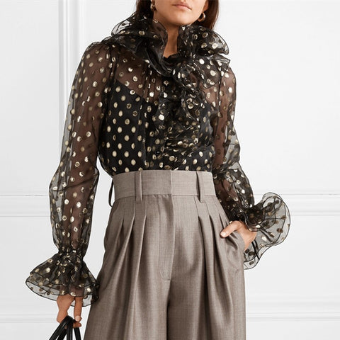 Womens Fashion Polka Dot Printed See-through Blouse
