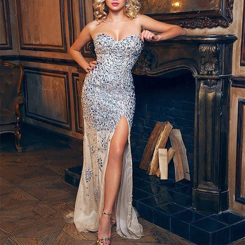Lady Off Shoulder Sequin Split Dress