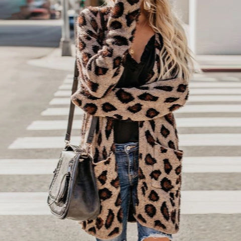 Women's Casual Pure Color Leopard Print Long Sleeve Cardigan