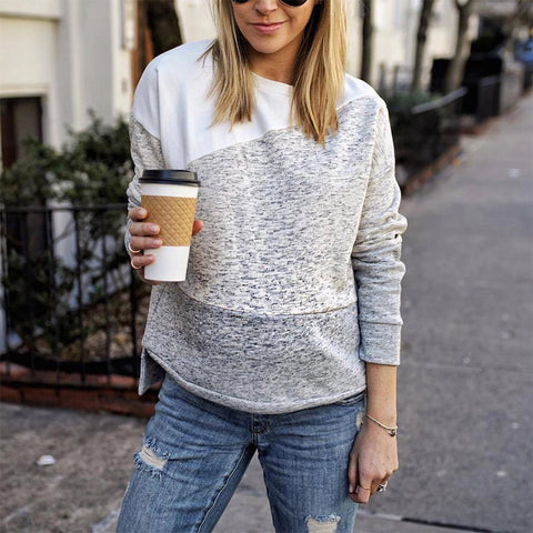 Women's Casual Round Neck Colouring Loose Sweatshirt