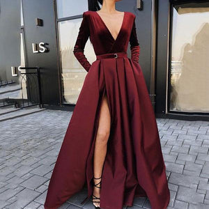 Fashion Sexy Deep V Collar Long Sleeves Fork Plain Maxi Dress