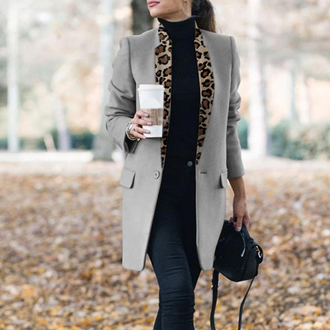 Fashion Leopard-Printed Collar Slim Blazer Coat