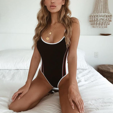 Sexy Fashion Stripe One-Piece Swimsuit