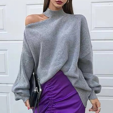 Fashion round collar solid color sweater