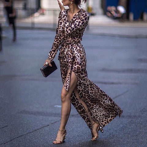 Autumn Sexy Leopard Print Side Vented Long Sleeves Maxi Dresses