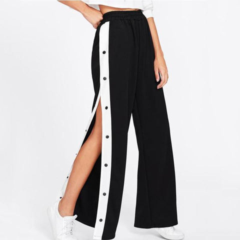 Casual Button Broad Leg Pants