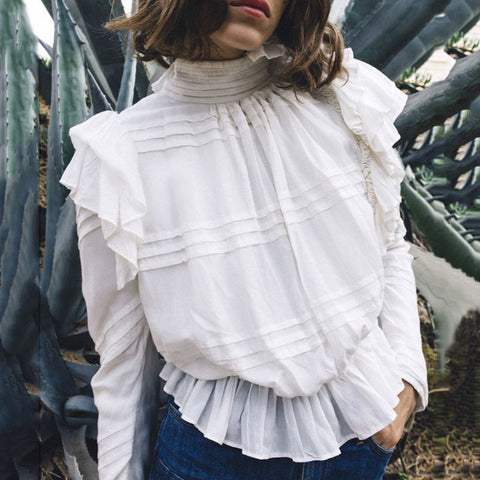 Women's Fashion Temperament Turtleneck Long Sleeve Ruffled Hem Shirt