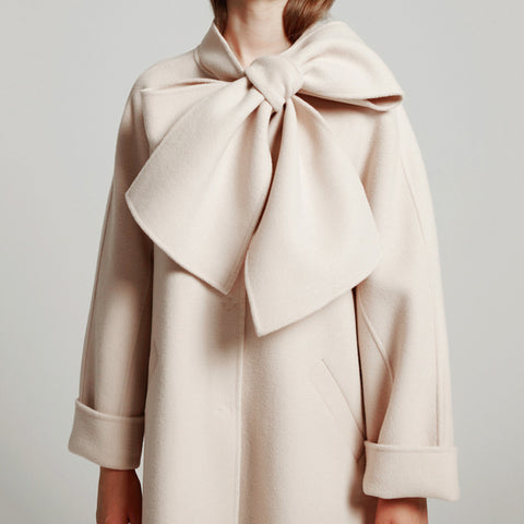 Fashion solid color bow long sleeve coat