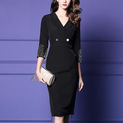 Elegant Lapel Black Button Cropped Sleeve Dress