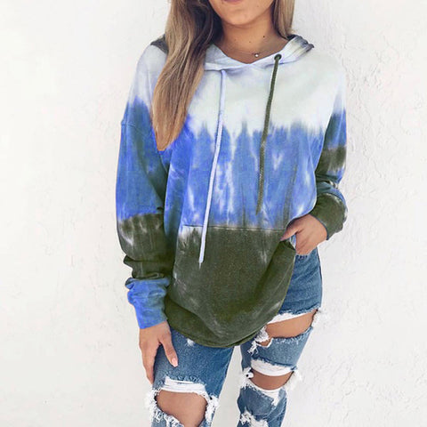 Women Fashion Gradient Hooded Sweatshirt