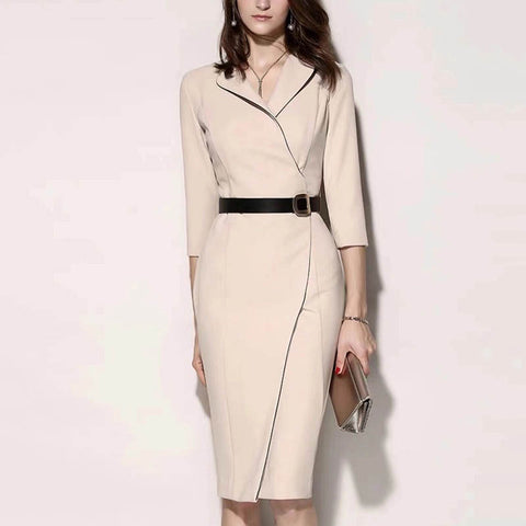 Solid color slim commuter dress
