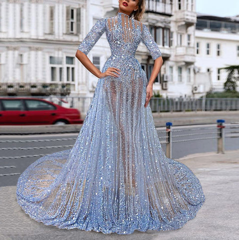 Fashion blue sequin perspective evening dress