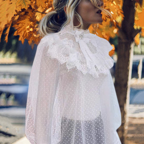 Casual Polka Dot Petal Sleeve Stand Collar See-through Lace Blouse