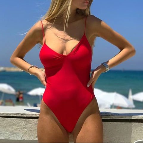 Sexy Halter Cross Pure Color One-Piece Swimwear