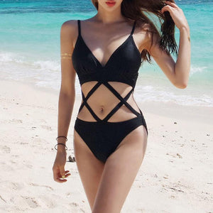 Sexy Straps Plain One-Piece Swimwear